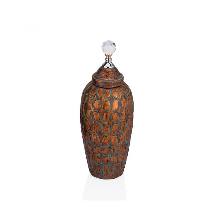PR33-1009 - Kristal Kulplu Kahverengi Dekoratif Kavanoz 16*41