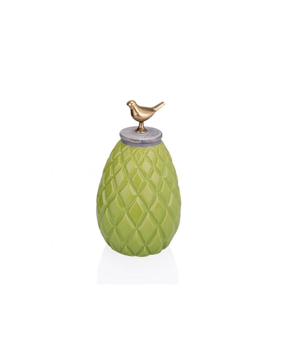 PR33-1017 - Kuş Kulplu Yeşil Dekoratif Kavanoz 16*28