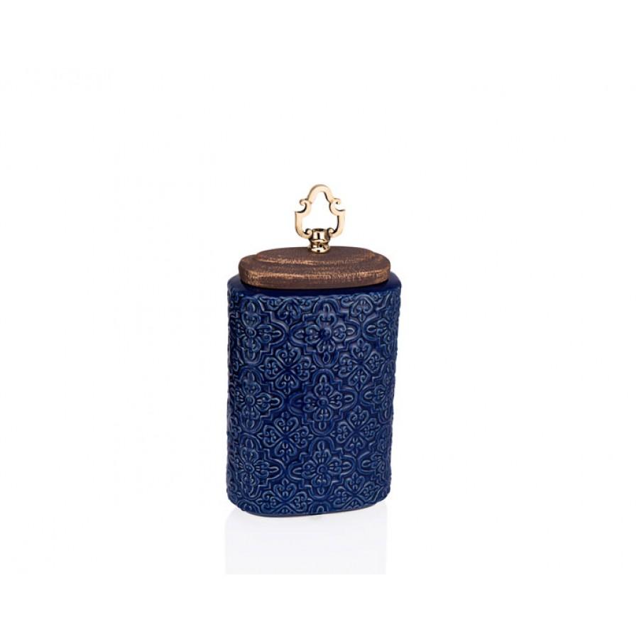 PR33-1020 - Altın Kulplu Mavi İşlemeli Dekoratif Kavanoz 18*35
