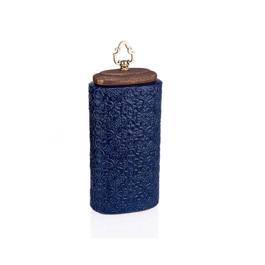 PR33-1021 - Altın Kulplu Mavi İşlemeli Dekoratif Kavanoz 18*43