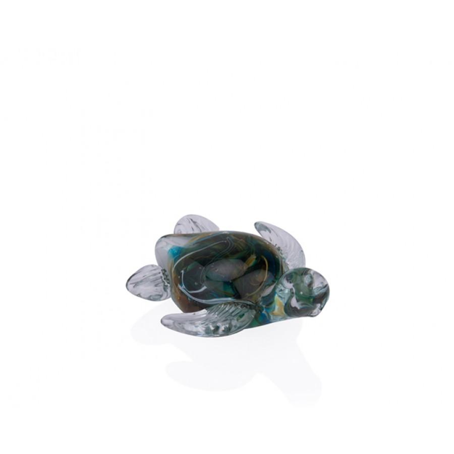 PR36-1003 - Yeşil Ebruli Cam Kaplumbağa 11*10*5