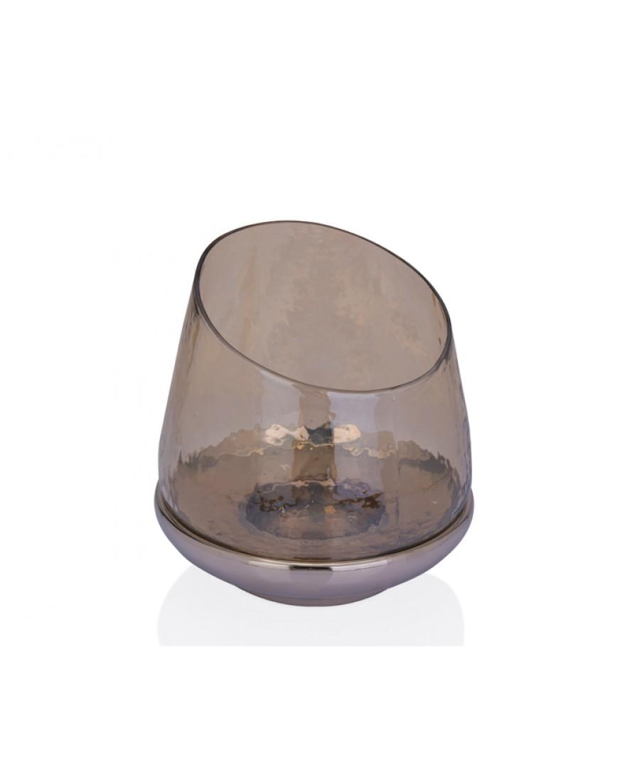 PR37-1014 - Altı Gümüş Amber Cam Mumluk 23*23*24
