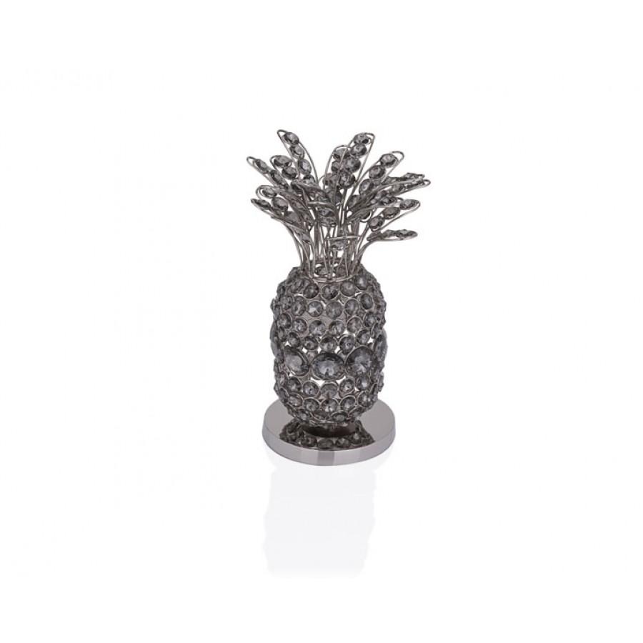 PR37-1025 - Gümüş Füme Kristalli Ananas 13*13*32