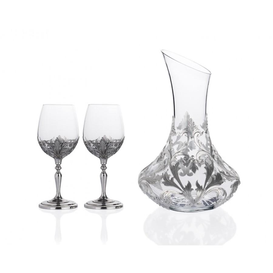 PR40-1001 - Gümüş İşlemeli Karaf ve 2li Şarap Kadeh Seti