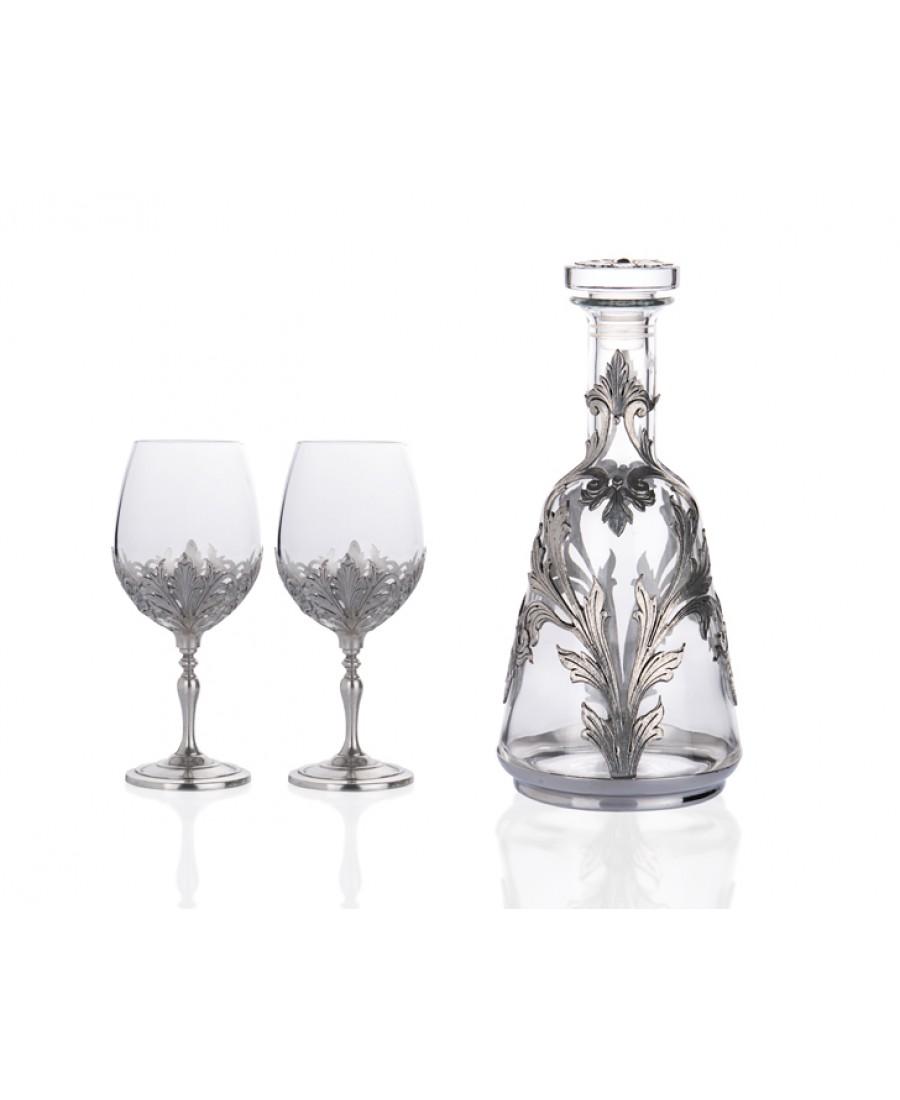 PR40-1002 - Gümüş İşlemeli Karaf ve 2li Şarap Kadeh Seti