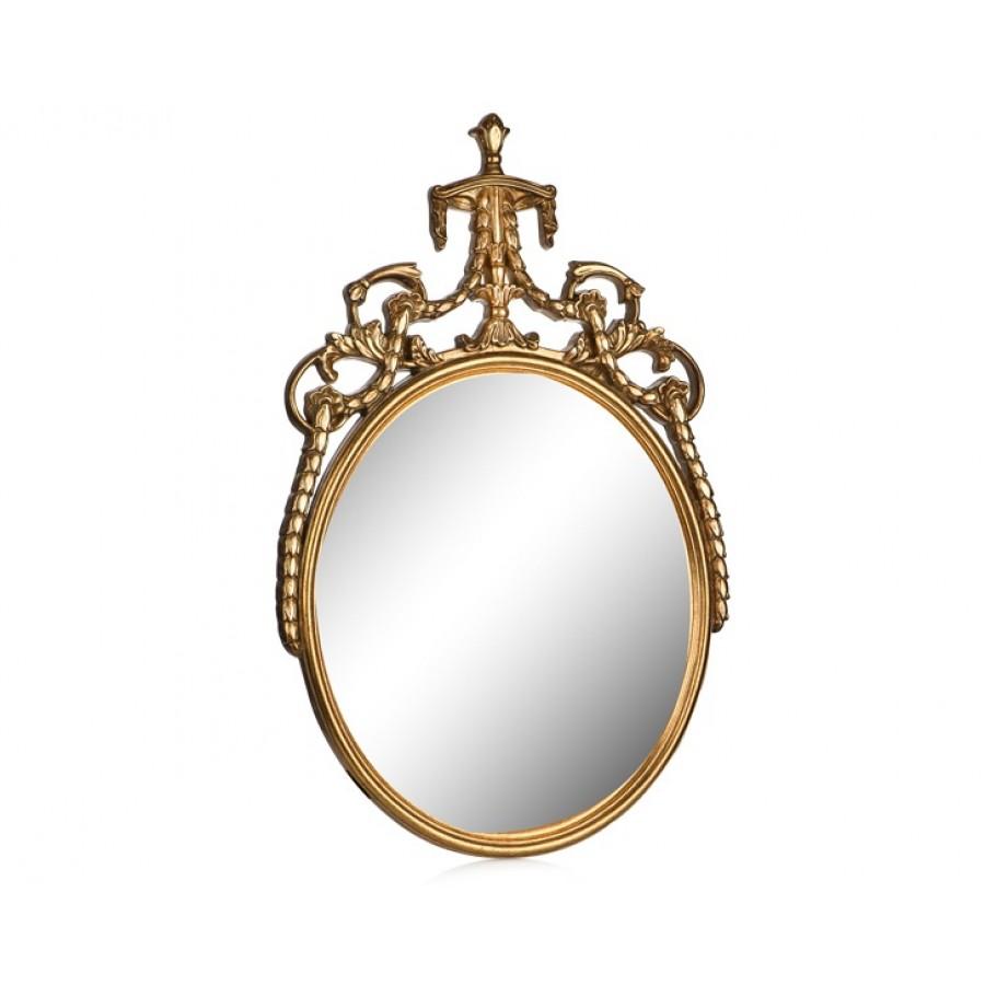 PR42-1046 - Zincir Taç İşlemeli Altın Oval Ayna 60*50