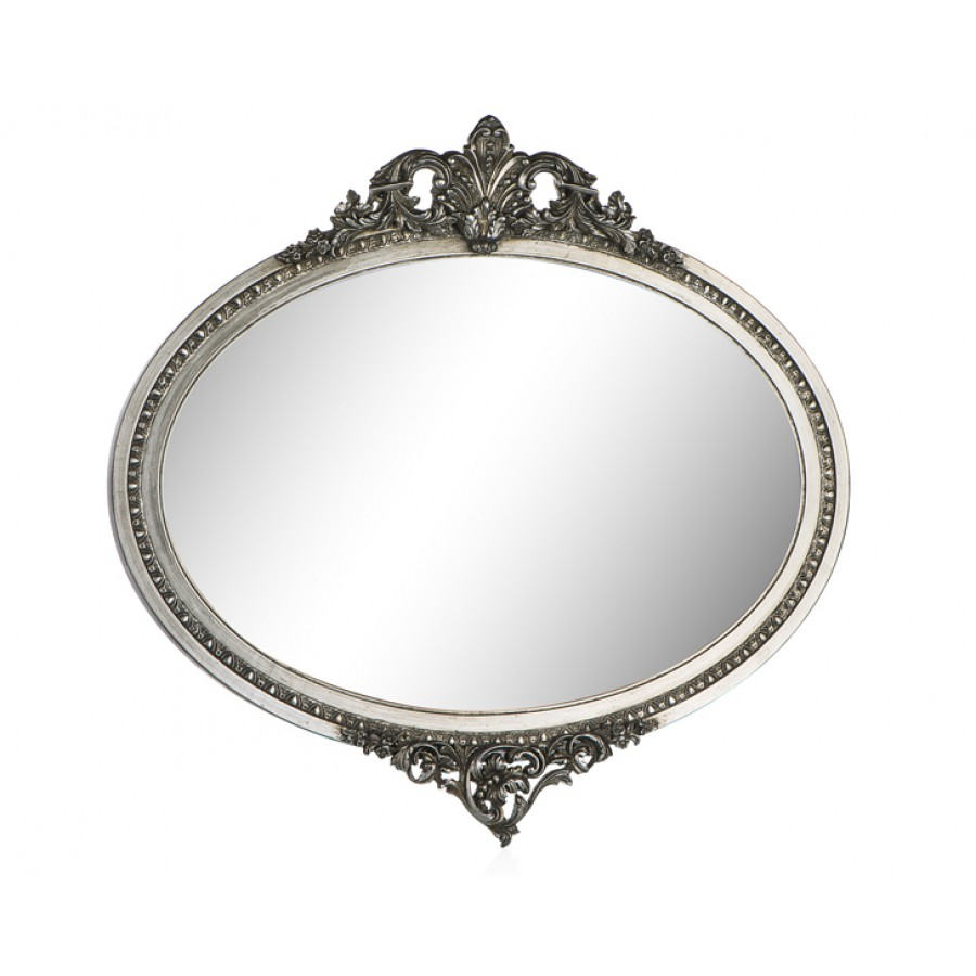 PR42-1053 - Yaprak İşlemeli Gümüş Oval Ayna 51-75
