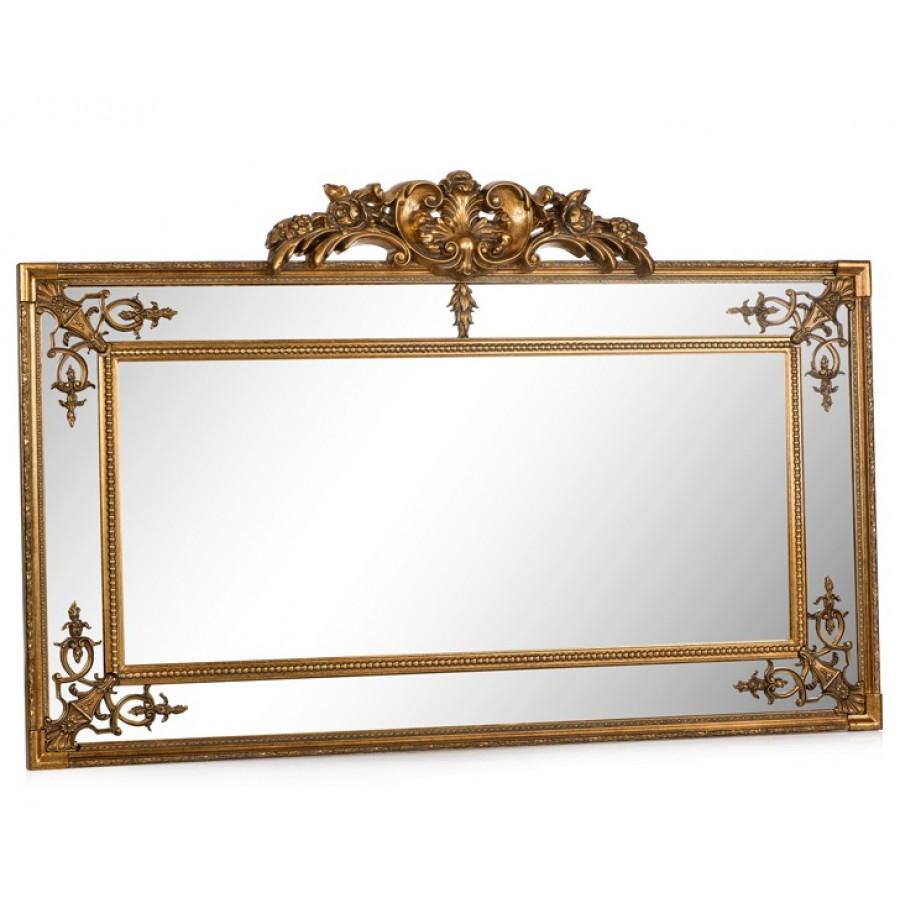 PR42-1064 - Taçlı İç İşlemeli Altın Uzun Yatay Ayna 167*108