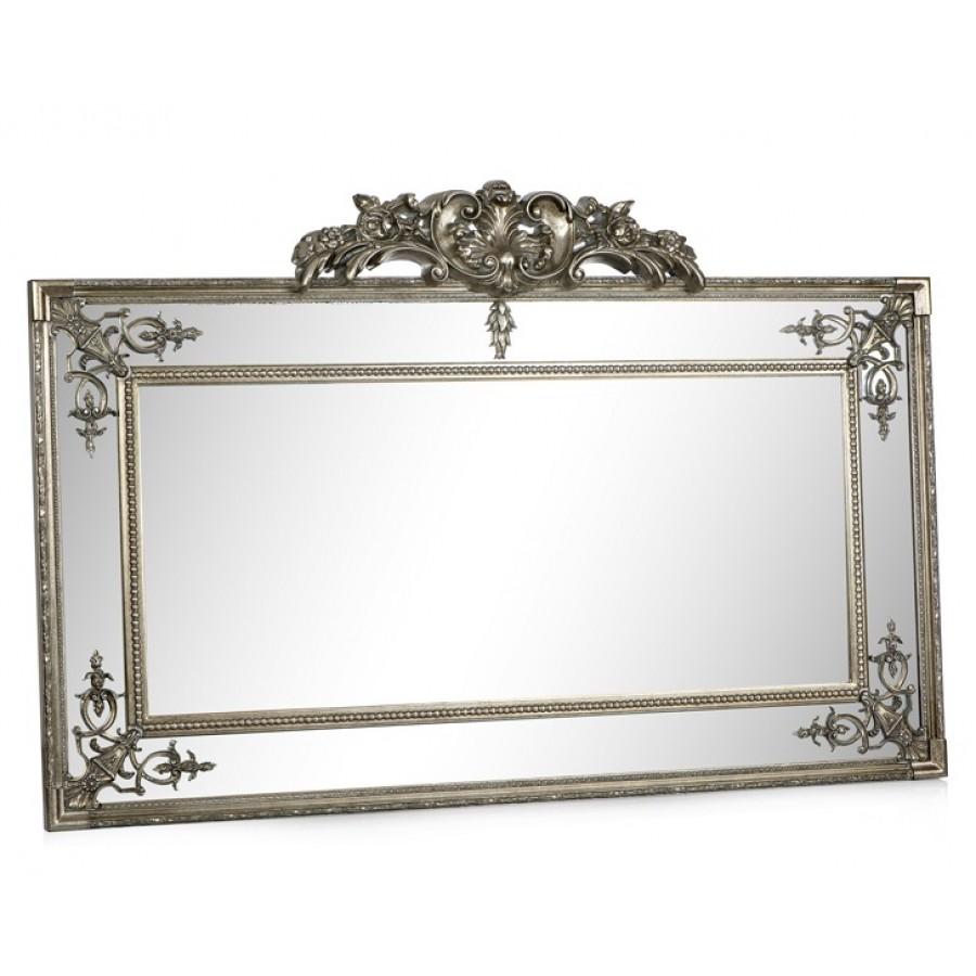 PR42-1065 - Taçlı İç İşlemeli Gümüş Uzun Yatay Ayna 167*108