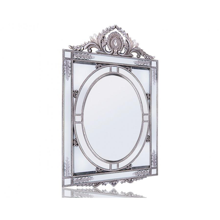 PR42-1077 - Gümüş Başak Detaylı Taçlı Ayna 100*66