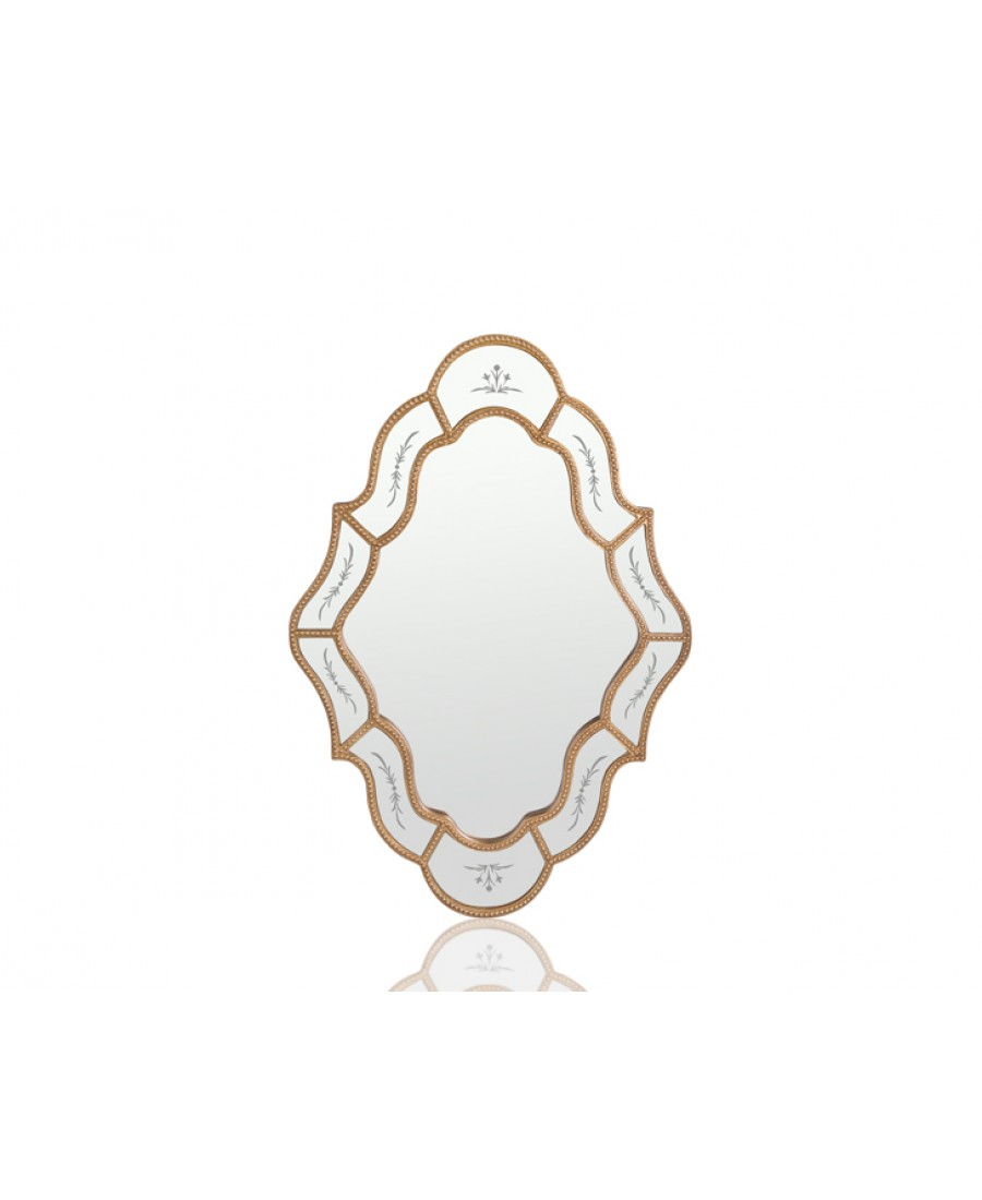 PR42-1078 - Altın Oval-Kare Şekilli Ayna 91*61