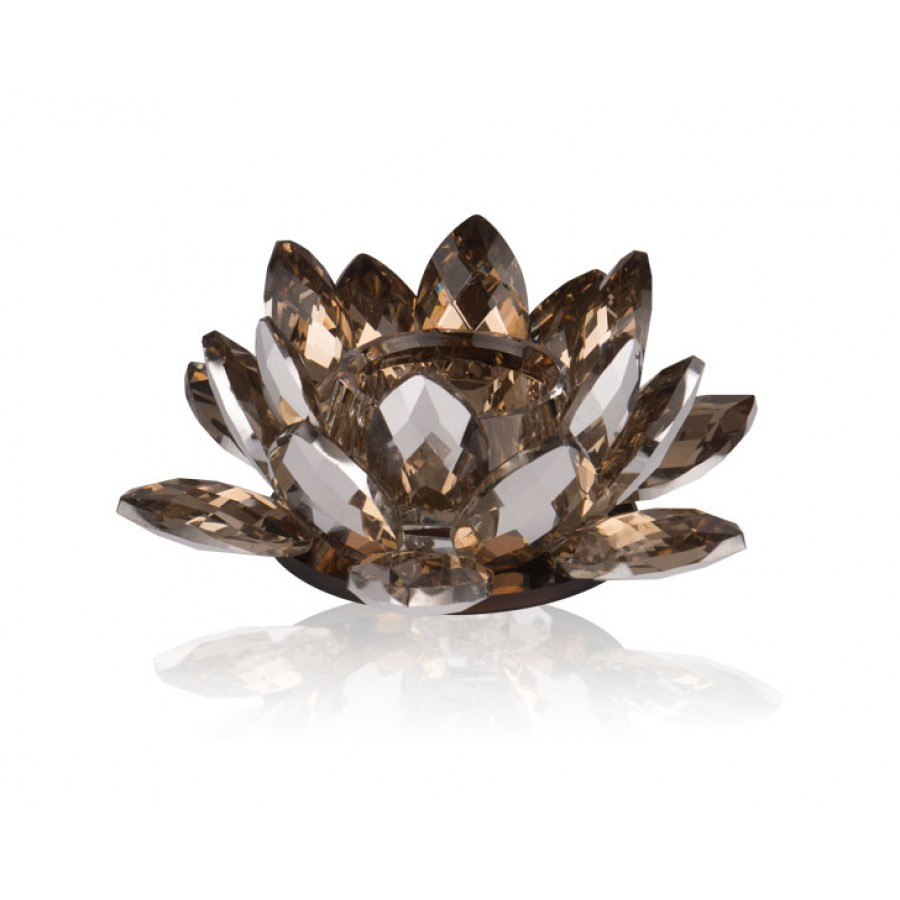 PR48-1016 - Flora Brown Kristal Tealight 15x15x5 cm