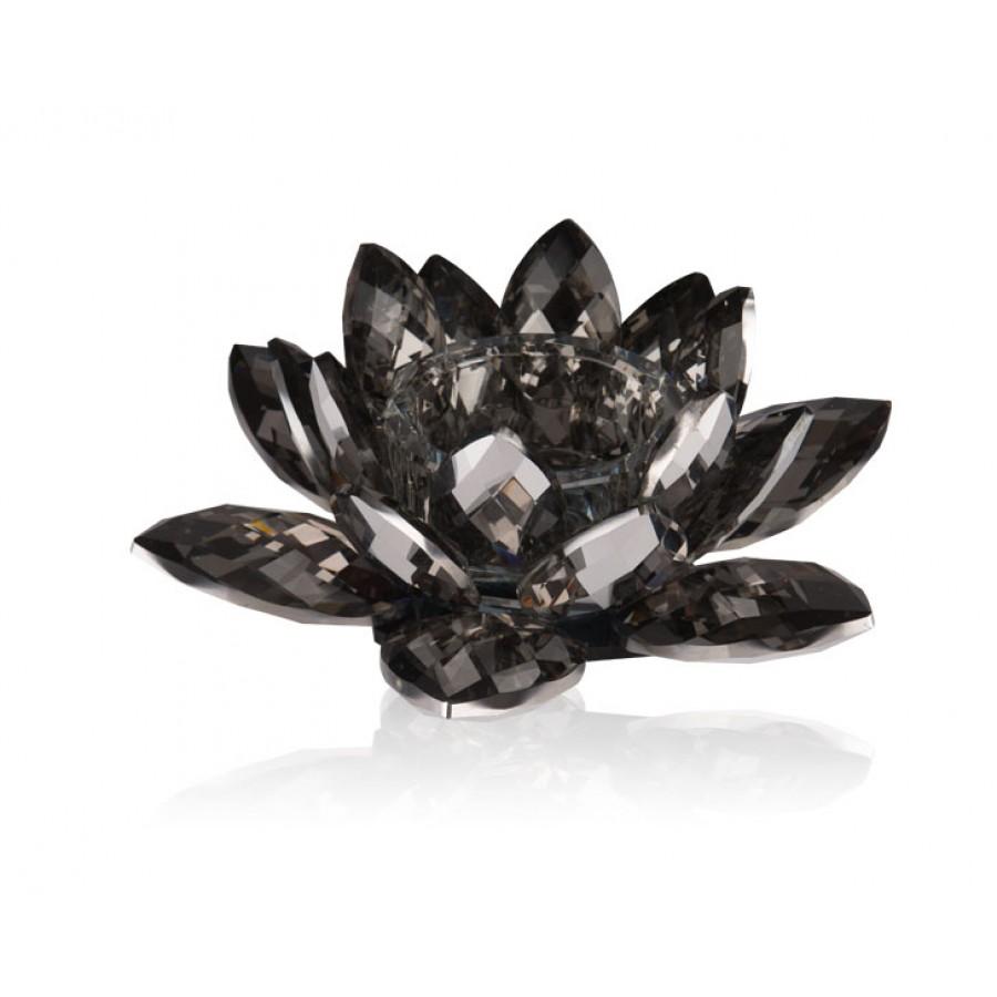 PR48-1017 - Flora Black Kristal Tealight 20x20x8 cm