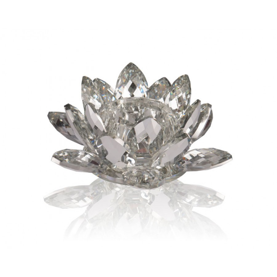 PR48-1019 - Flora Silver Kristal Tealight 20x20x8 cm