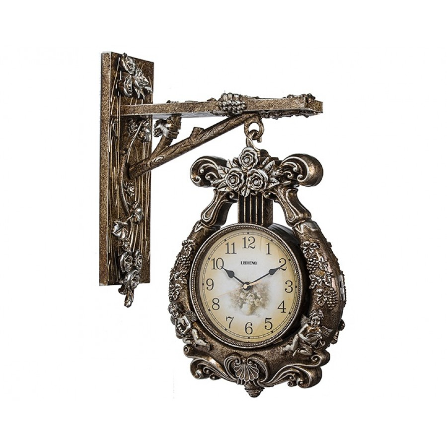 PR53-1026 - Bronz-Gümüş rengi Asmalı Duvar Saati 42*30