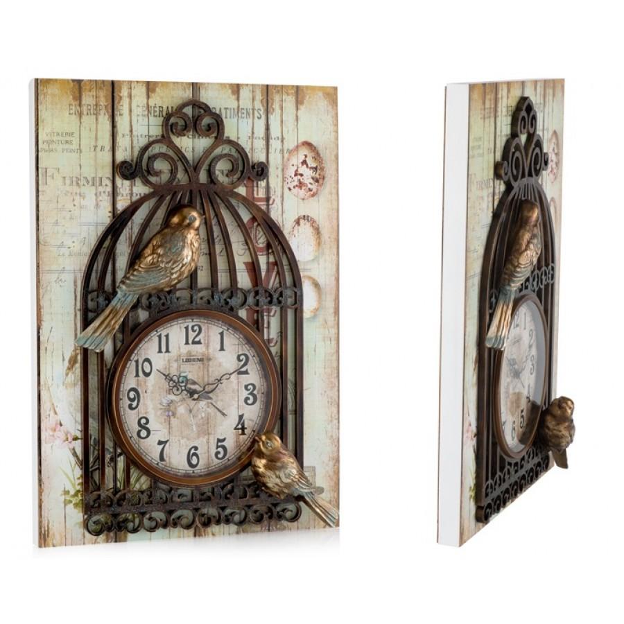 PR53-1040 - 3 Boyutlu Kafes-Kuş Tablolu Duvar Saati 50*70