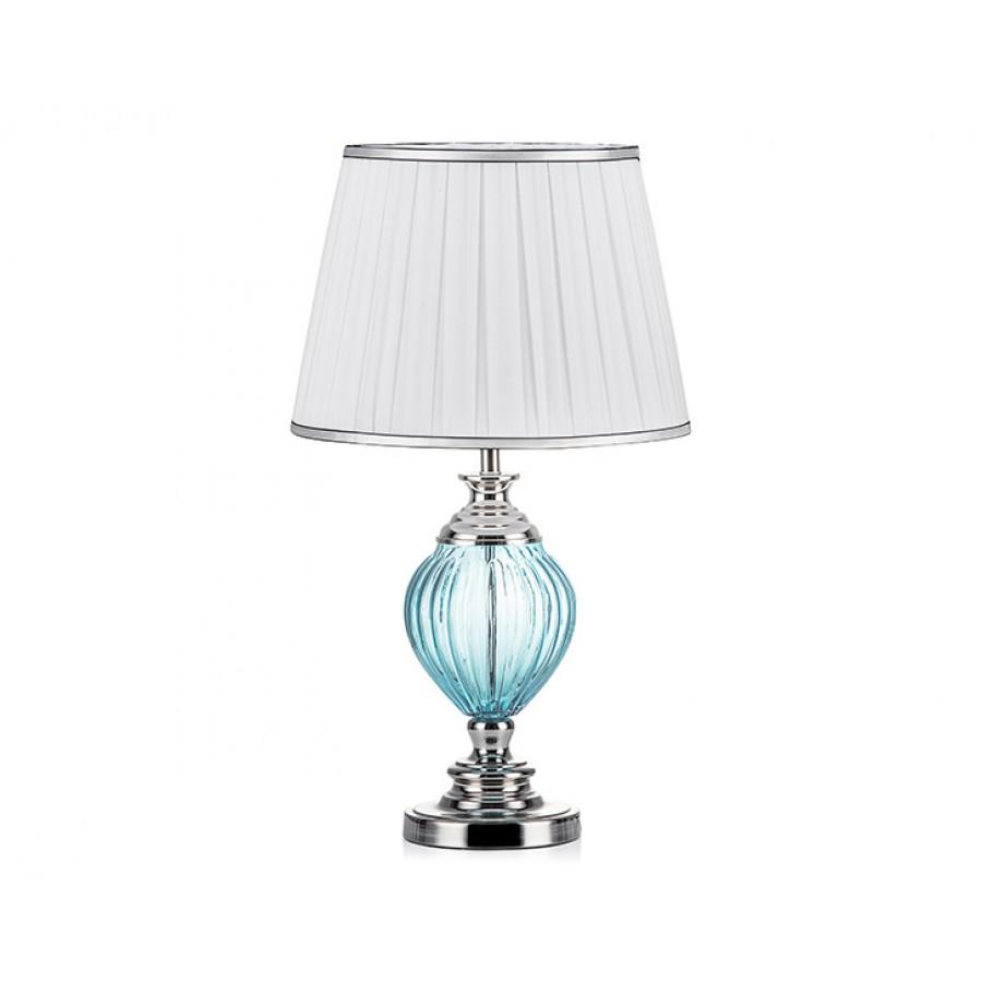 PR57-1013 - Gümüş Ayaklı Mavi Cam Gövdeli Beyaz Abajur 65*37