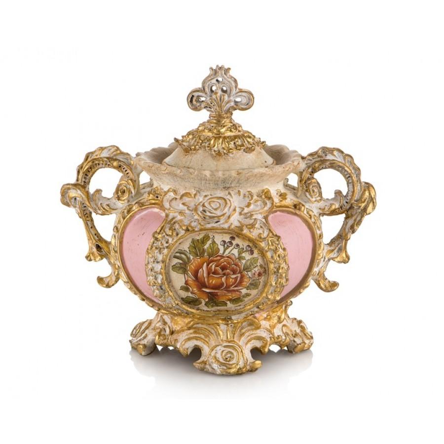 PR58-1031 - Altın-Pembe Çiçek Desenli Kapaklı Şekerlik 25*25