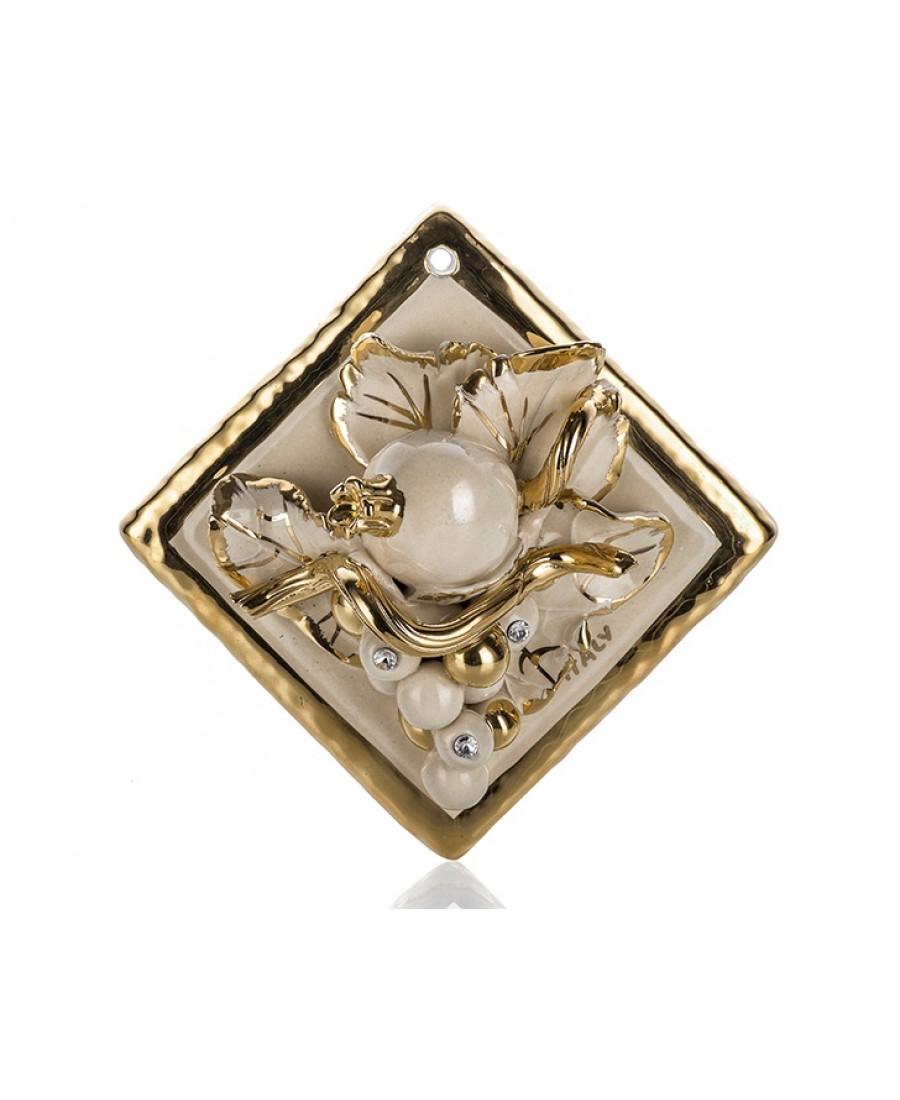 PR67-1006 - Altın Meyve Desenli Krem Kare Pano 14cm