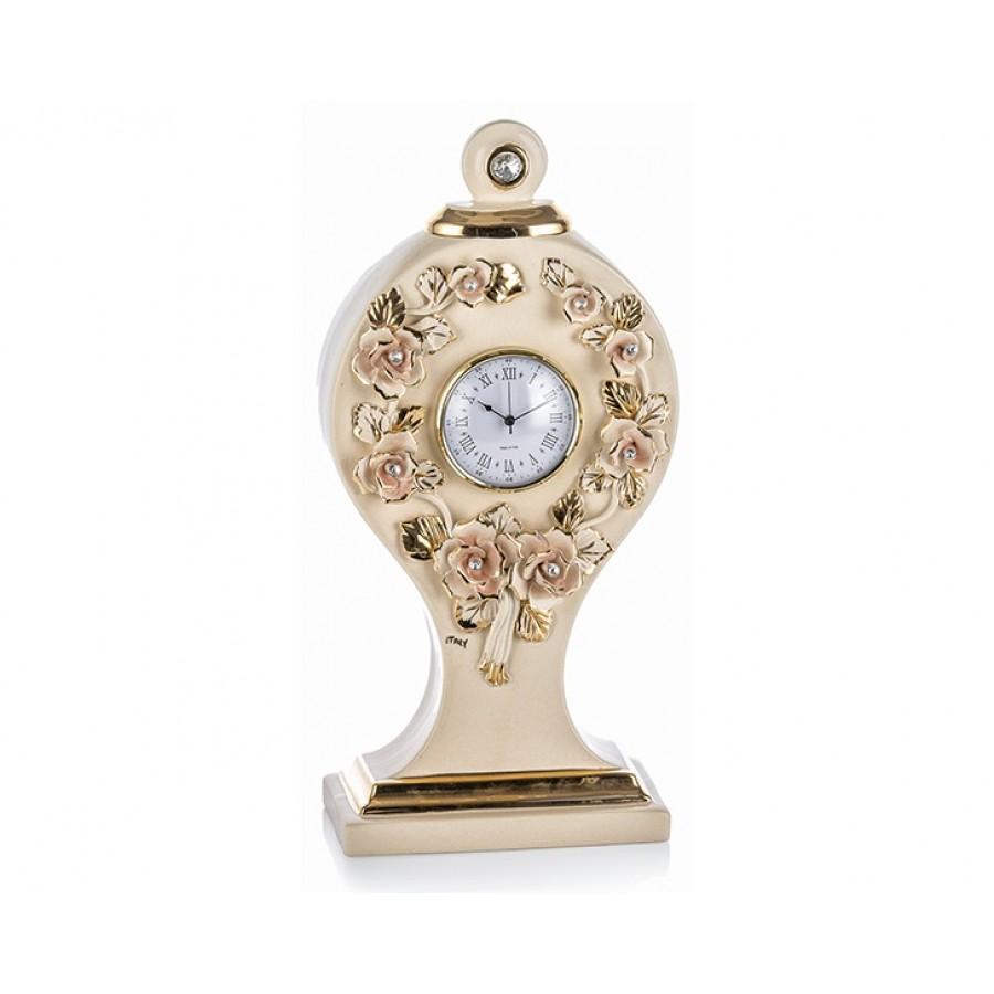 PR67-1022 - Altın Gül Desenli Krem Masa Saati 42cm