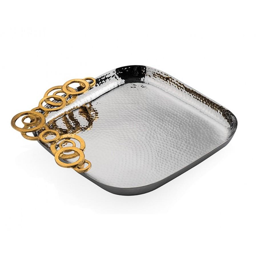 PR74-1015 - Altın dekorlu Gümüş Kare Servis 23*23