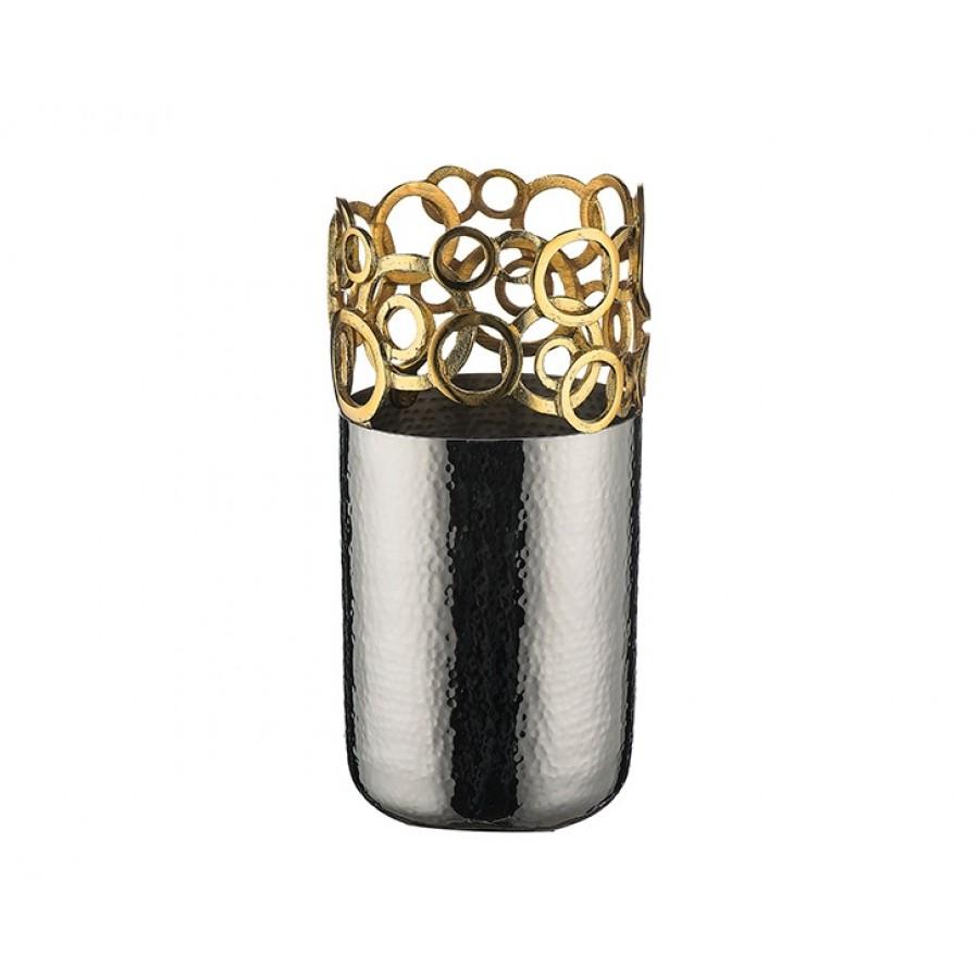 PR74-1018 - Altın Dekorlu Gümüş Vazo 26*13