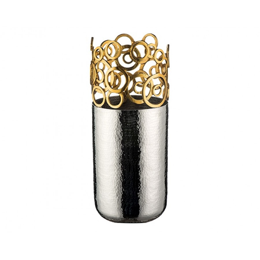 PR74-1019 - Altın Dekorlu Gümüş Vazo 34*14