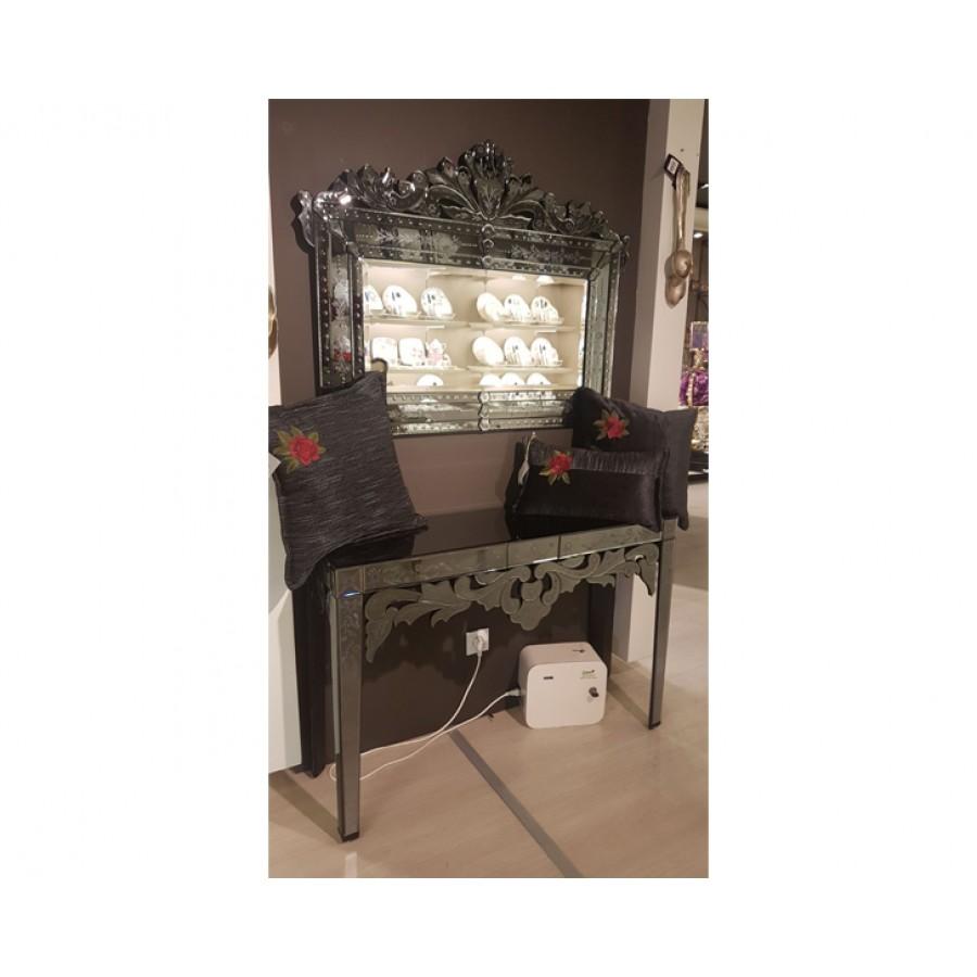 PR75-1022 - Taç Desenli Siyah Aynalı Venedik Ayna 82*108